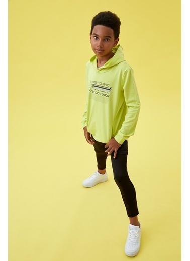Defacto –Fit Erkek Çocuk Baskılı Sweatshirt Sarı